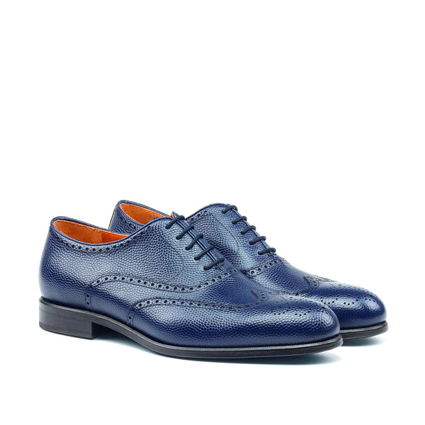 Unique Handcrafted Blue Wingtip Oxford w/ Full Brogue