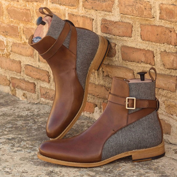 - PURE - Unique Handcrafted Grey + Brown Jodhpur Boots