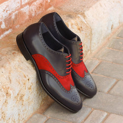 Unique Handcrafted Red Patent Full Brogue Wingtip
