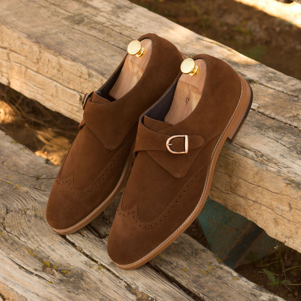 Unique Handcrafted Cafe Brown Suede Single Strap Monkstrap