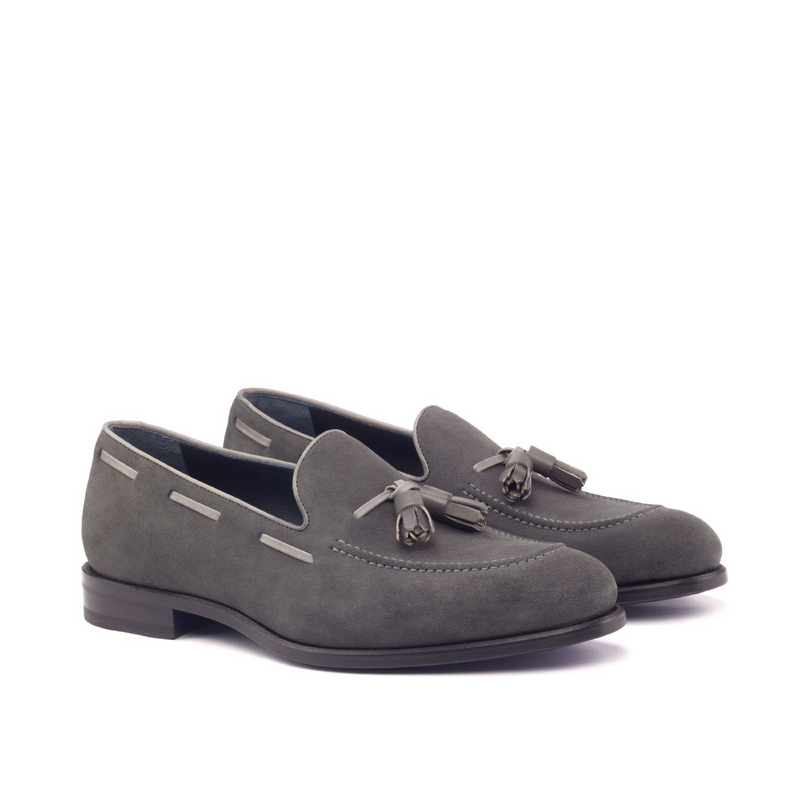 Unique Handcrafted Grey Lux Suede Slip on Loafer w/ Tassles