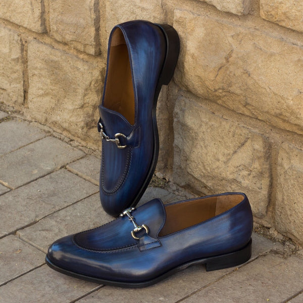 Unique Handcrafted Denim Crust Blue Patina Loafer