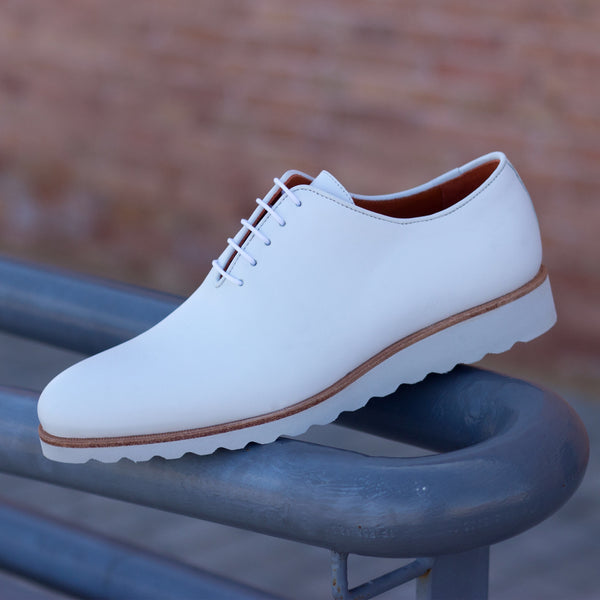 Unique Handcrafted All White Whole-cut w/ White Wedge sole
