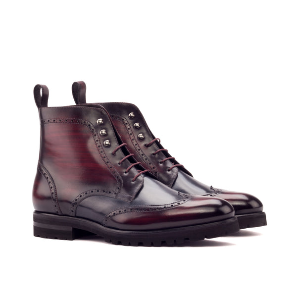 - Red Commando - Unique Hand-Painted Patina Military Style Brogue