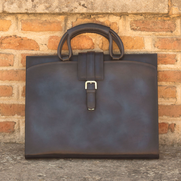 ~the brief CASE ~ Beautiful Unique Handcrafted Patina Bag Blue