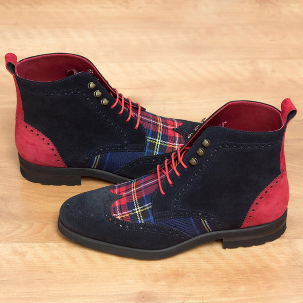 Unique Handcrafted Tartan Sartorial Military Style Brogue