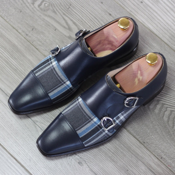 Unique Handcrafted Blue Double Strap Monkstrap