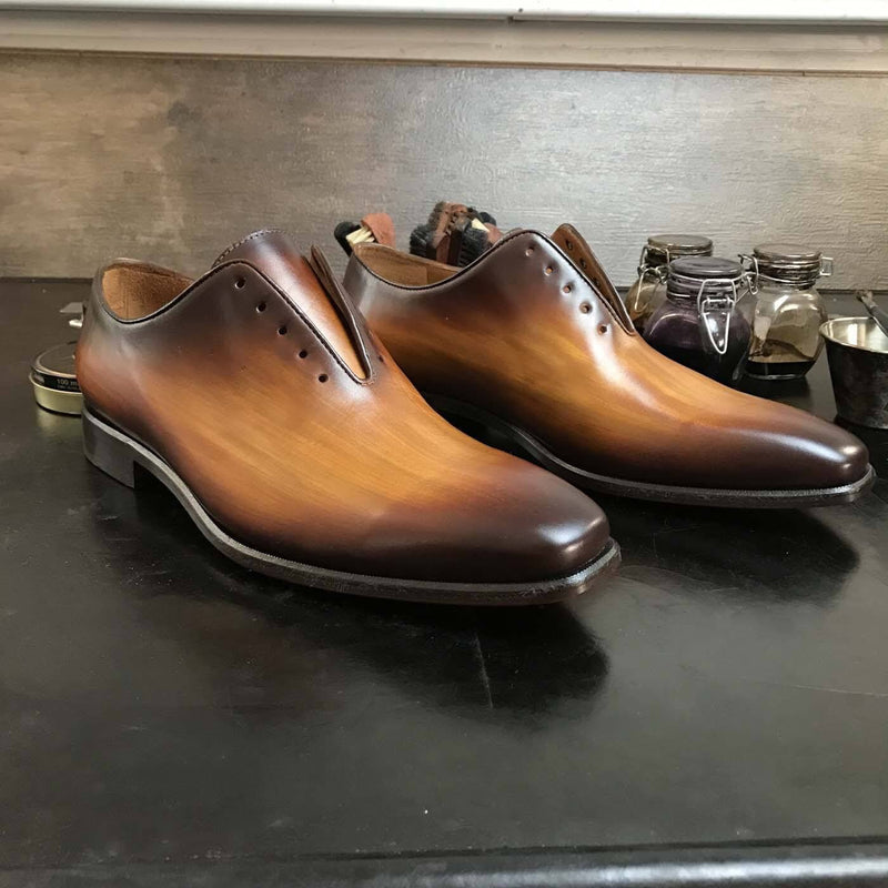 JAMIE - Unique Handcrafted Whole Brown Patina Oxford