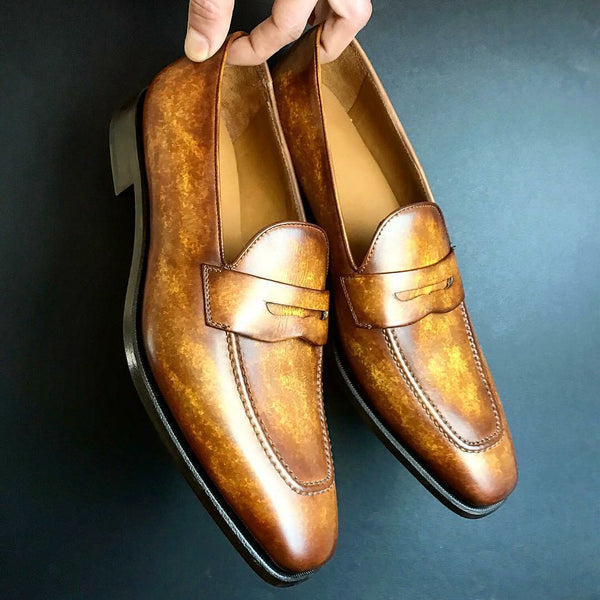 Unique Handcrafted Patina Golden Brown Loafer - MARBLE