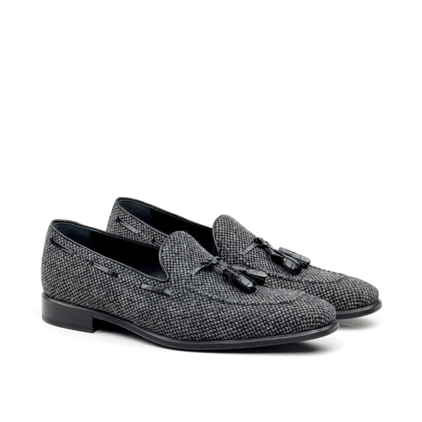 Unique Handcrafted Flannel Dark Grey Slip on Loafer w/ Tassles