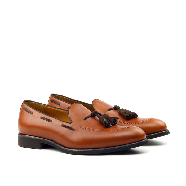 Hannibal - Unique Handcrafted Caramel Brown Leather Loafer W/ Dark Brown Tassels