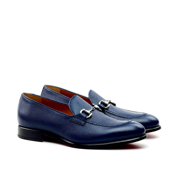 Unique Handcrafted Pebble Grain Navy Blue Loafer