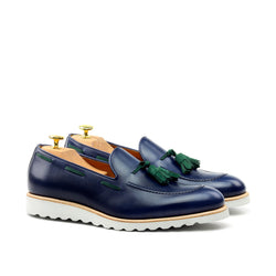 Unique Handcrafted Navy Blue Box Calf Loafer w/ Sport Wedge Sole