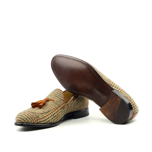 Unique Handcrafted Tweed Sartorial Slip on Loafer w/ Tassles