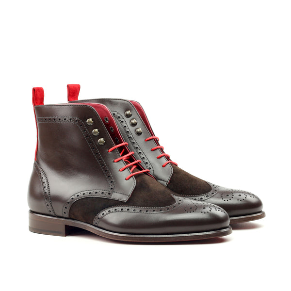 Unique Handcrafted Black Brogue Military Style Boot