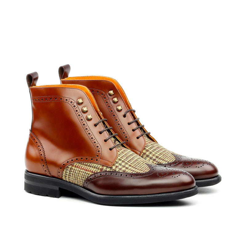 Unique Handcrafted Cognac Polish Calf Military Style Brogue Boot