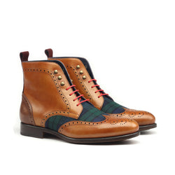 MANSA M. - Unique Handcrafted Golden Brown Military Style Brogue Boot
