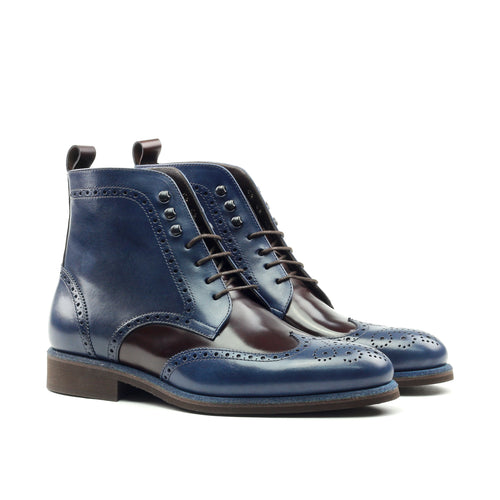 Unique Handcrafted Blue/Black Military Style Boot