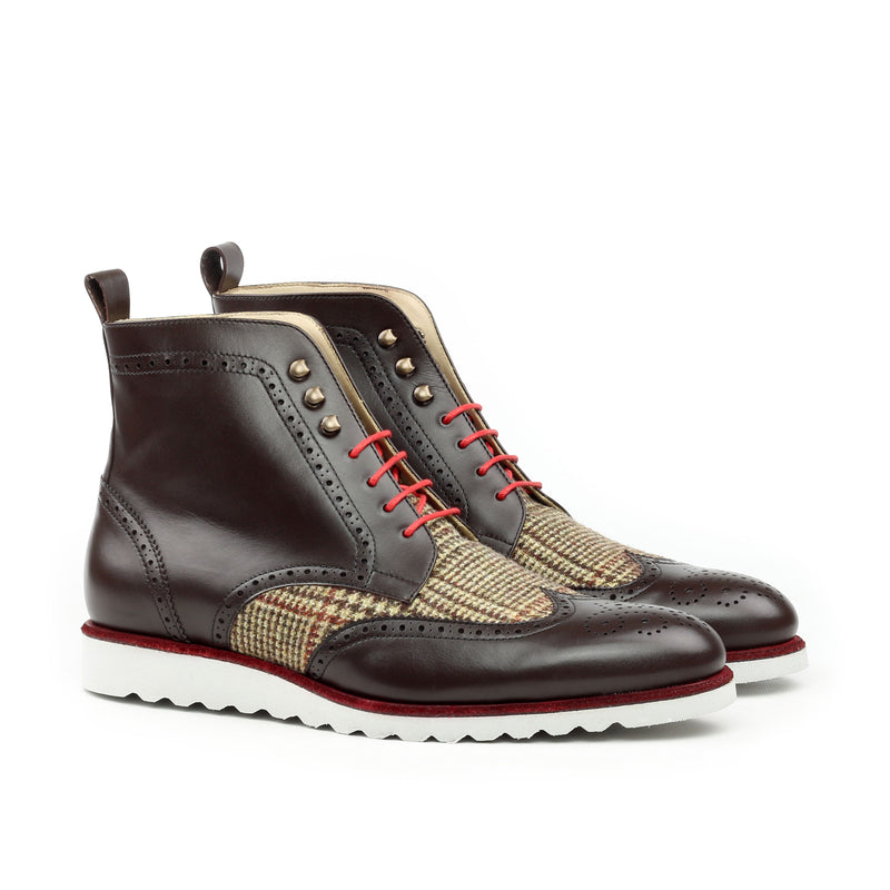Unique Handcrafted Military Style Brogue Boot w/ Sport Wedge Sole