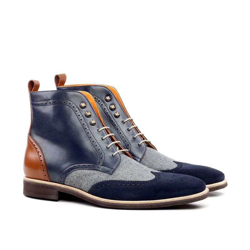 Unique Handcrafted Mix Colored Military Style Brogue Boot w/ Lux Suede