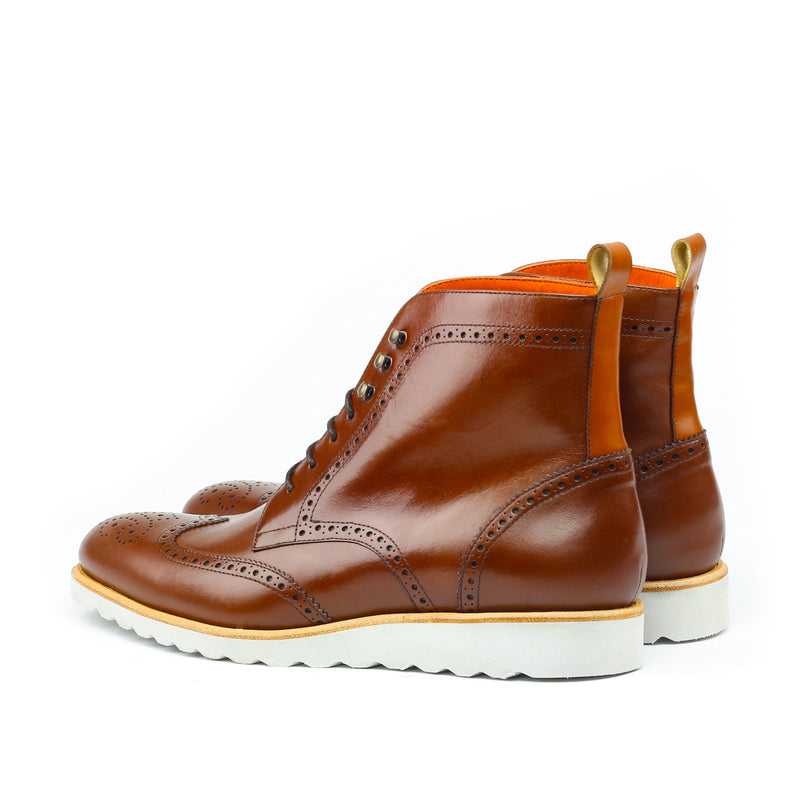 LELOUCH - Unique Handcrafted Cognac Box Calf Military Style Brogue Boot