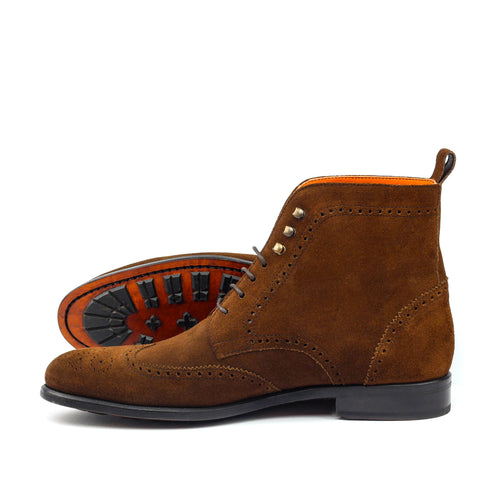 Unique Handcrafted Brown Lux Suede Military Style Brogue Boot
