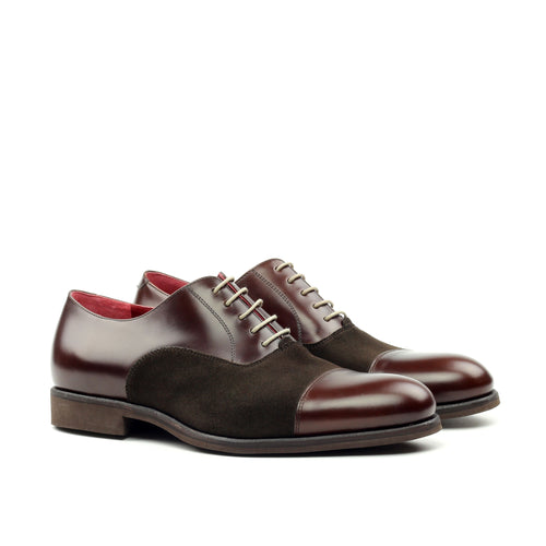 Unique Handcrafted Burgundy Box Calf Derby w/ Cap Toe