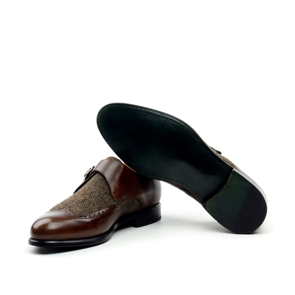 Unique Handcrafted Brown painted Calf Single Strap Monkstrap