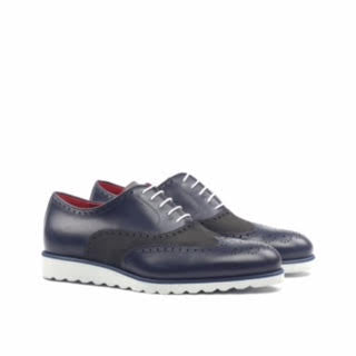 Unique Handcrafted Full Brogue Box Calf Navy Lux Suede Grey