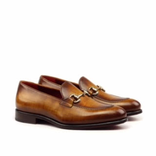 Unique Handcrafted Loafer Bit Cognac Patina