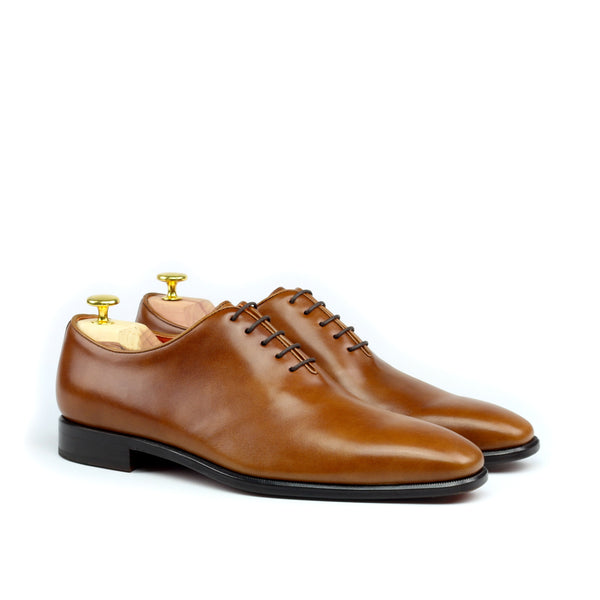 EPICTETUS - Unique Handcrafted Golden Brown Wholecut Oxford Formal Dress Shoes