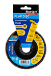 "BlueSpot 115mm (4.5"") 80 Grit Aluminium Oxide Flap Disc (Header Card) - West Kent Motor Factors"
