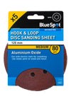 BlueSpot 125mm 5 Pack 80 Grit Sanding Disc - West Kent Motor Factors