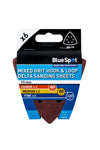BlueSpot 6 Pack 93mm Mixed Grit Delta Sanding Sheets - West Kent Motor Factors