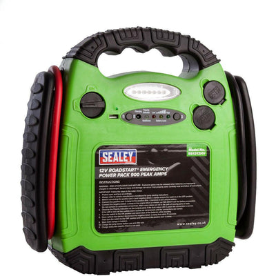 Sealey RS1312HV RoadStart Emergency Power Pack 12V 900 Peak Amps Hi-Vis Green