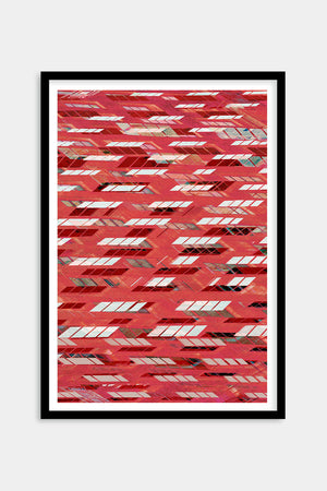 geometric red art framed