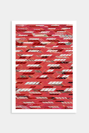red abstract artwork print