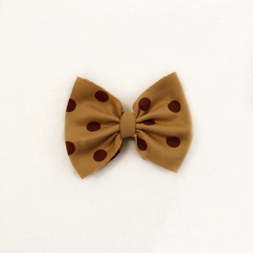 Brown polka dot bow clip