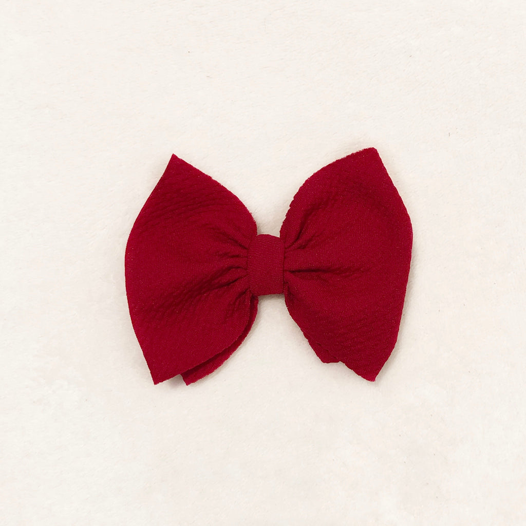 Ruby red bow clip