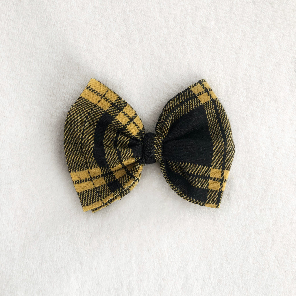 Yellow plaid bow clip