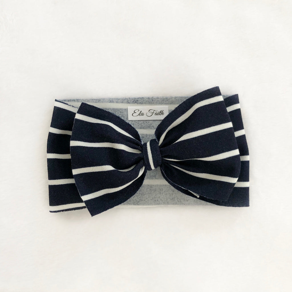 Navy blue & stripes bow