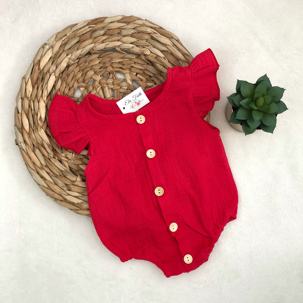 Frances romper - red