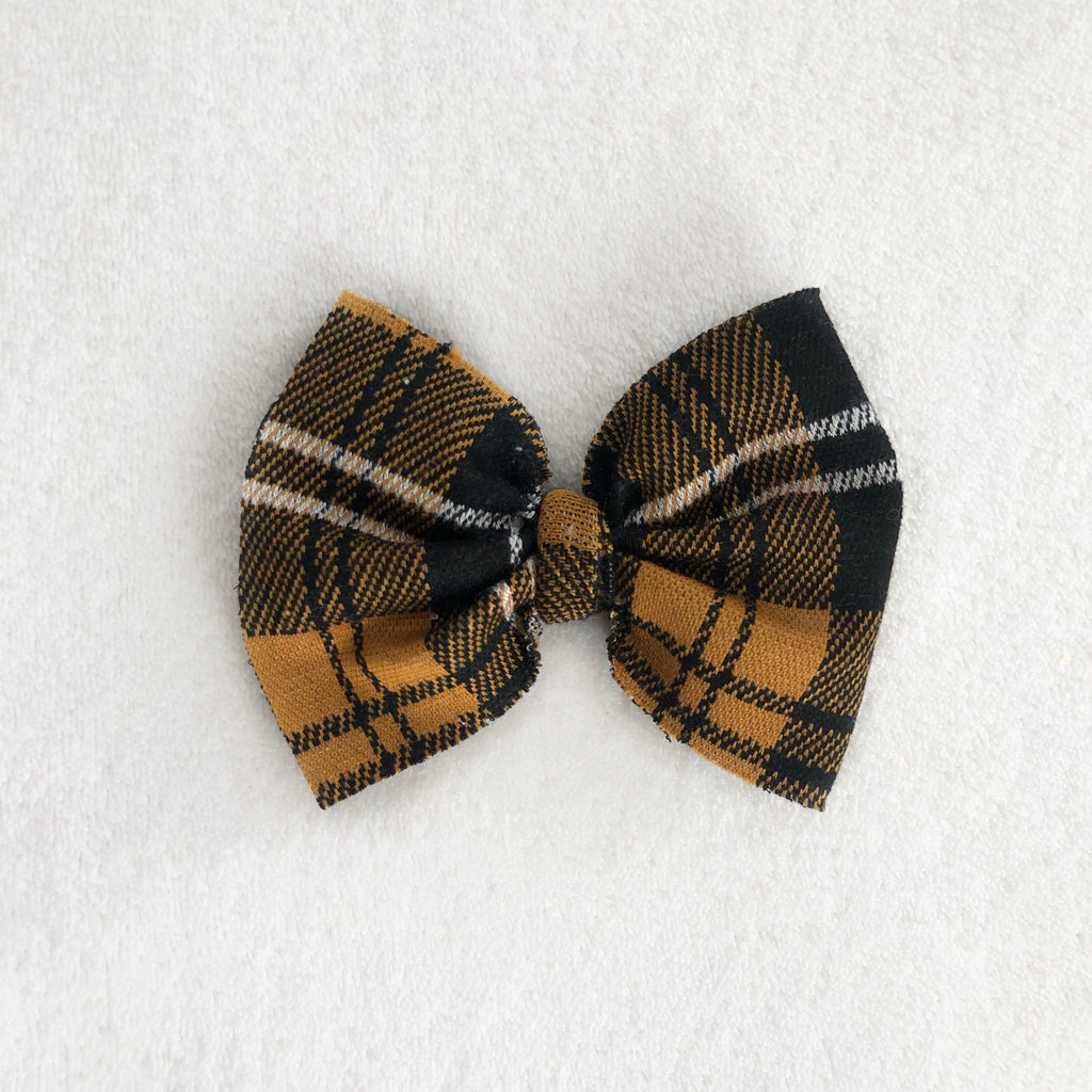 Bronze plaid bow clip