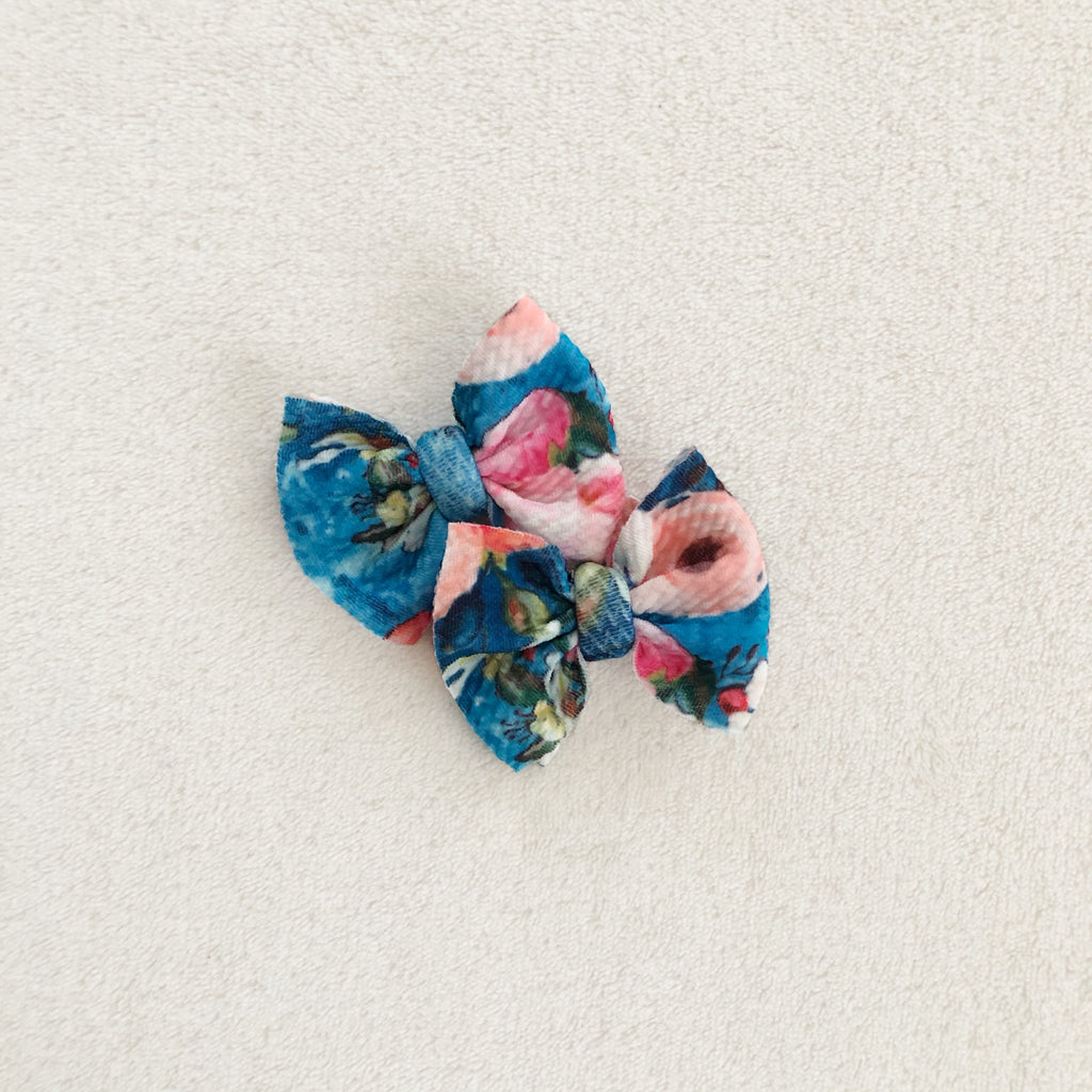 Blue & floral piggies set