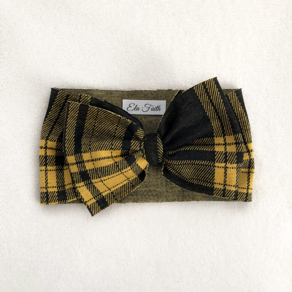 Yellow plaid bow