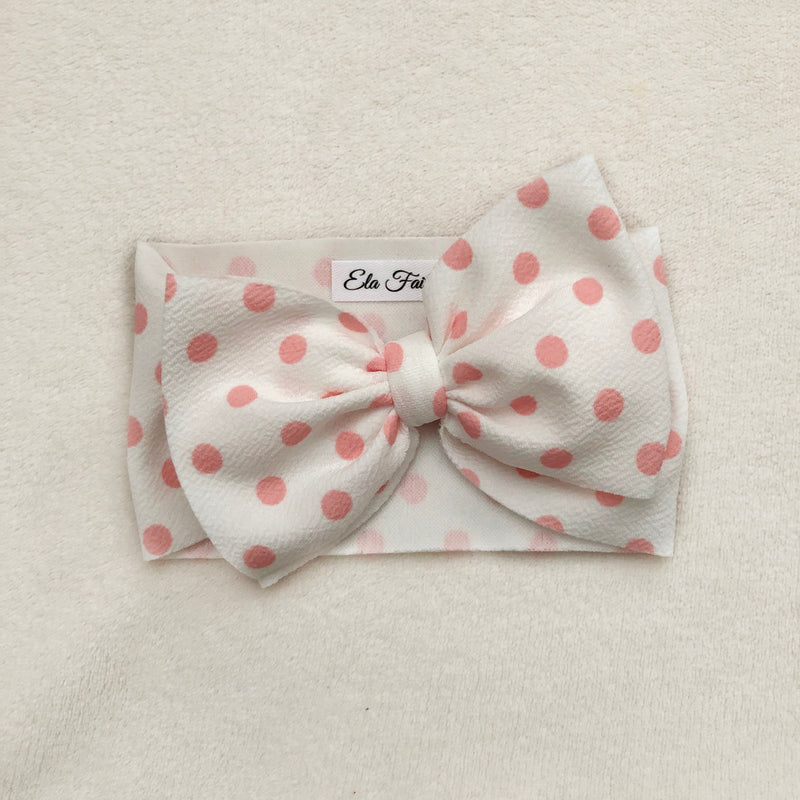 White & pink polka dot headwrap