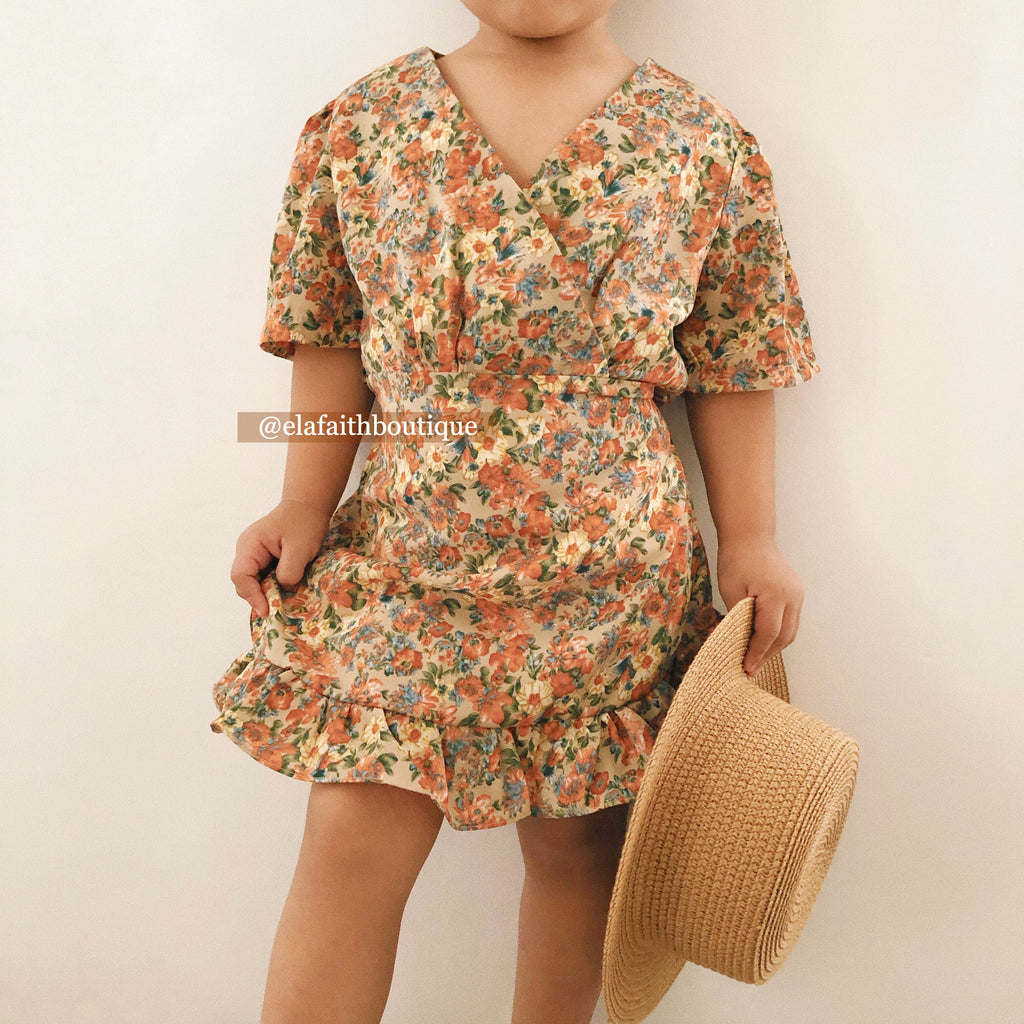 Paris floral dress - Brown