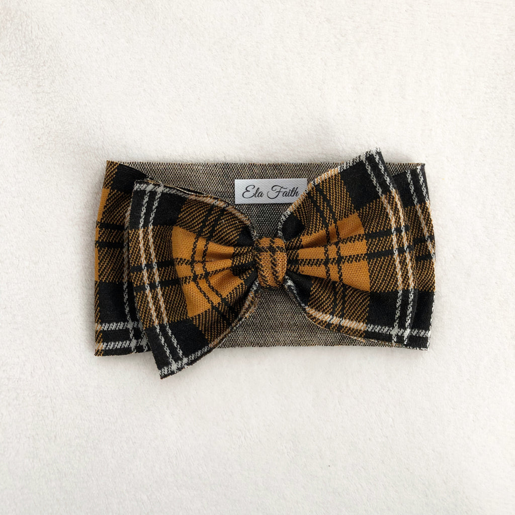 Bronze plaid bow