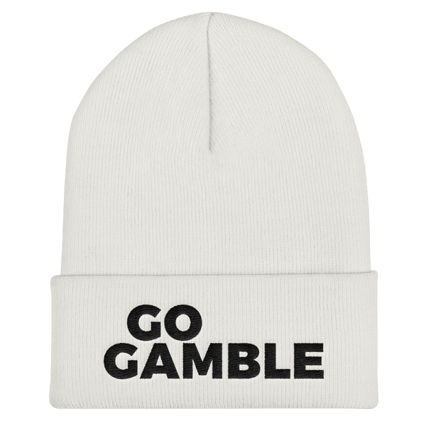 white Go Gamble Cuffed Beanie