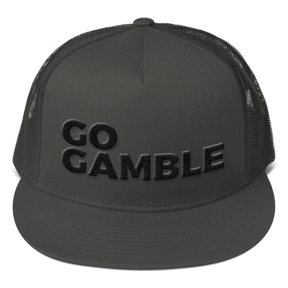 Black on Charcoal go gamble trucker hat